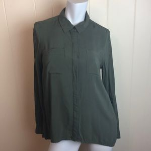 3/$27 a.n.a Olive Green Button Down Career Top